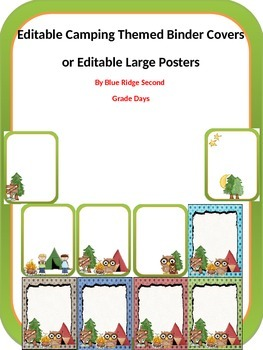 Editable Camping Themed Binder Covers and Large Full Page Posters