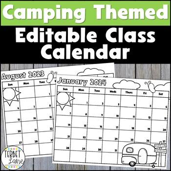 Editable Camping Themed Class 2018 and 2019 Calendar