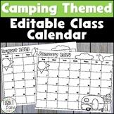 Editable Camping Themed Class 2019 and 2020 Calendar