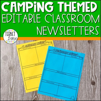Editable Camping Themed Class Newsletter
