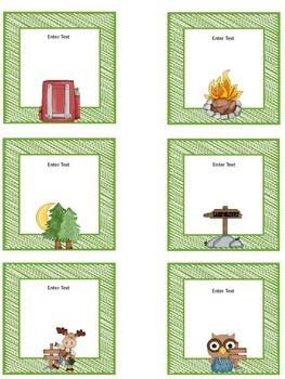 Editable Camping Themed Job Chart