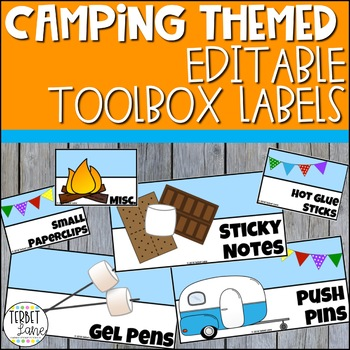 Camping Themed Editable Teacher Toolbox Labels