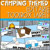 Camping Themed Teacher Toolbox Labels Editable