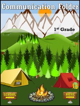 Editable Camping themed Nicky Folder / Communication Folder Cover Sheet