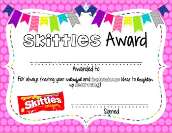 Editable Candy Awards! Brights & Black/White