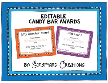 Editable Candy Bar Awards