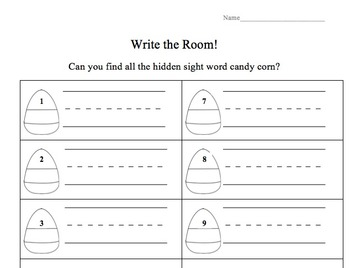 Editable Candy Corn Sight Word Search
