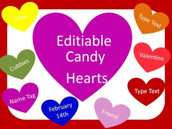 Editable Candy Heart Labels