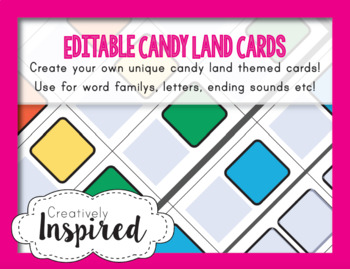 Editable Candy Land Themed Game Cards