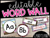 Editable Candyland Word Wall Headers and Word Cards - Candyland Classroom Theme
