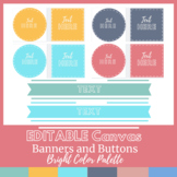 Editable Canvas Buttons and Banners Bright Color Scheme