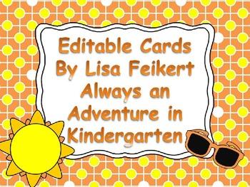 Editable Cards-Summer theme