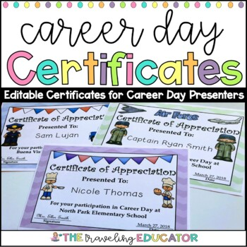 Career day certificates editable by the traveling educator tpt career day certificates editable yadclub Image collections