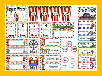 Carnival Calendar Set and Classroom Decorations {Editable}