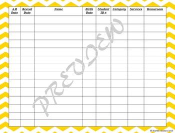 IEP Caseload Management -Editable Sheets (Chevron Set)