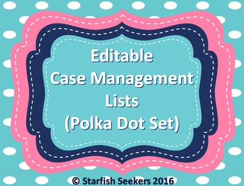 IEP Caseload Management - Editable Sheets (Polka Dot Set)