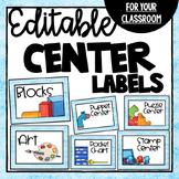 EDITABLE Classroom Center Labels- Ocean Theme Class Decor