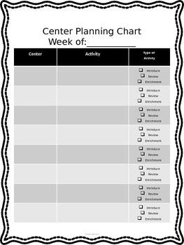 Editable Center Planning Chart