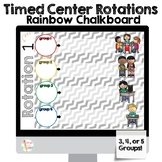 Timed Center Rotations PowerPoint 3, 4, or 5 Groups! Colorful Chalkboard