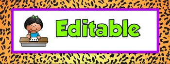 Editable Center Signs: Animal Print