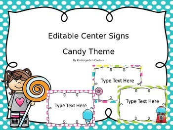 Editable Center Signs - Candy Theme