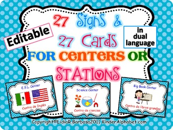 DUAL LANGUAGE Editable Center Signs