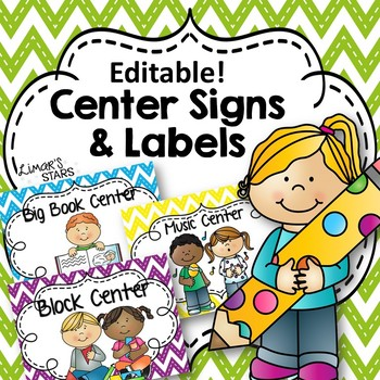 Editable Center Signs & Labels