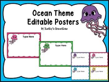 Editable Center Signs Ocean Theme/Jellyfish