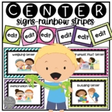 Editable Center Signs, Tags and Labels Rainbow Bundle