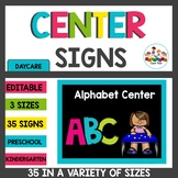 Chalkboard Brights Editable Center Signs