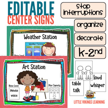 Editable Center Signs for K to 2