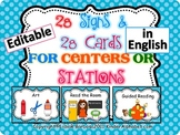 Editable Center Signs in English