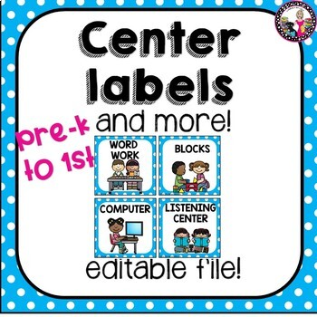 Editable Centers! Pre-K-2!