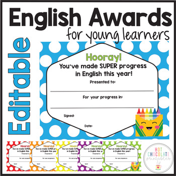 Editable Certificate : End of the Year Award for progress in ENGLISH (6 colors)