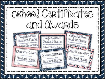 Editable Certificates and Awards: Coral and Navy