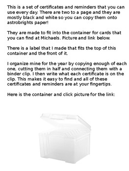 Editable Certificates and Reminders