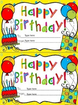 Editable Certificates for Birthday,Congratulations, Get Well, and Thank You
