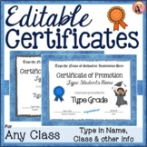 Editable Certificates - of Completion, Promotion, or Achievement - For any Class