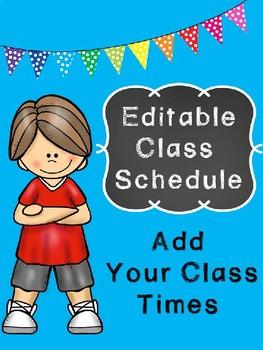 Editable Chalk Class Schedule