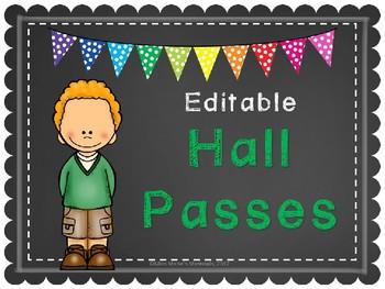 Editable Chalk Hall Passes
