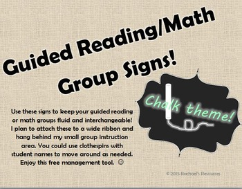 Editable Chalk Themed Group Signs **FREEBIE!!**
