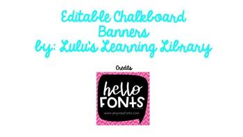 Editable Chalkboard Banner