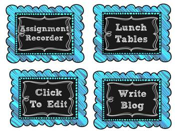 Editable Chalkboard Behavior Clipchart and Job Signs