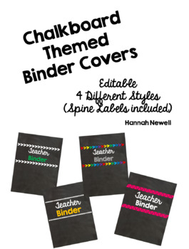 Chalkboard Binder Covers - Editable