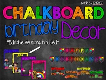 Editable Chalkboard Birthday Decor