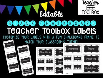 Editable BLANK Chalkboard Teacher Toolbox Labels