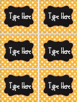 Editable Labels - Chalkboard and Bright Orange Polka Dot