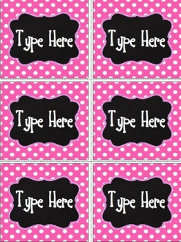 Editable Labels- Chalkboard & Bright Pink Polka Dot