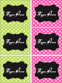 Editable Labels - Chalkboard & Bright Pink and Green Polka Dot