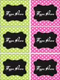 Editable Labels - Chalkboard and Bright Pink and Green Polka Dot